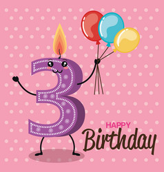 happy birthday candles cute numbers vector image
