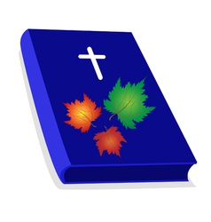 Holy Bible with Wooden Cross and Maple Leaves vector image