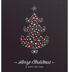 Merry Christmas and Happy New Year tree stars card vector image vector image