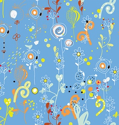 Seamless floral repeat pattern in blue colors vector image