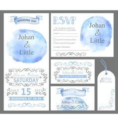Watercolor wedding invitation setCyan stein vector image vector image