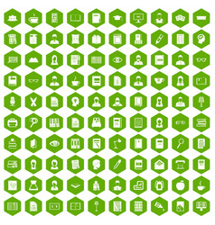 100 reader icons hexagon green vector