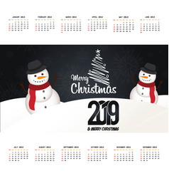 2019 christmas calendar design vector image