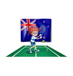 A tennis player in front of the flag of New vector