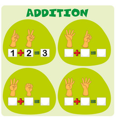 Addition worksheet with hand symbols vector