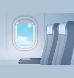 Aircraft interior with realistic smooth window and vector