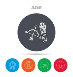 Amour arrows and bow icon Valentine weapon sign vector image