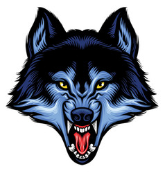 Angry wolf head show his sharp teeth vector