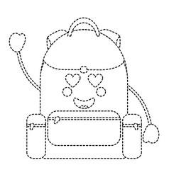 Backpack heart eyes school supplies kawaii ic vector