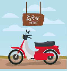 biker culture poster with classic scooter in red vector image