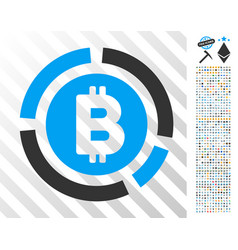 bitcoin diagram flat icon with bonus vector image