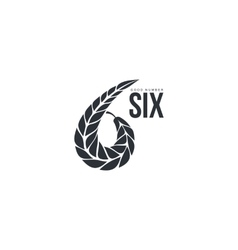 Black and white number six logo formed by wheat vector image