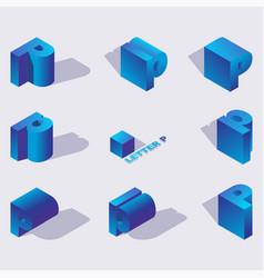 blue color russian letter er or r 3d in vector image