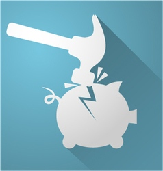 Break piggy bank icon vector