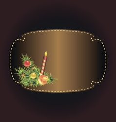 Bronze frame on dark background with xmas decor vector