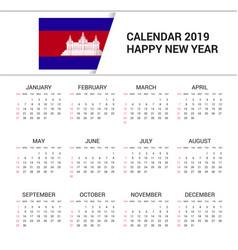 Calendar 2019 cambodia flag background english vector