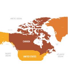 Canada map - brown orange hue colored on dark vector