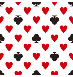 card suit pattern hearts and clubs seamless vector image