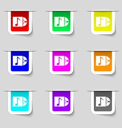 Cd player icon sign set of multicolored modern vector