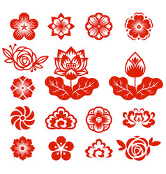 chinese flowers paper cut red color vector image