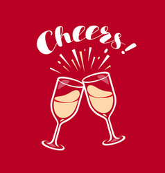 clinking glasses with champagne festivity vector image