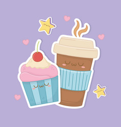 Coffee in container plastic and cupcake kawaii vector