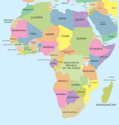 Coloured political map of africa vector