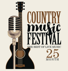 Country music poster with guitar and microphone vector