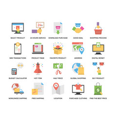 Creative flat icons set of shopping and commerce vector