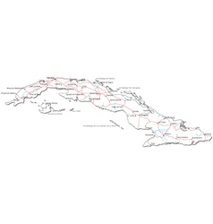 Cuba Black White Map vector image vector image