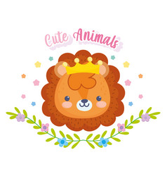 cute animals little lion with crown foliage vector image