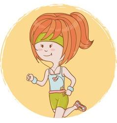Cute cartoon sporty girl vector