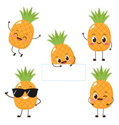 cute happy cartoon pineapple character vector image