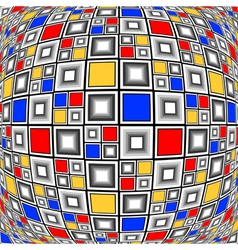 Design warped colorful checked mosaic pattern vector