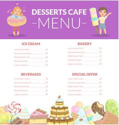 Desserts cafe menu kids food menu ice cream vector