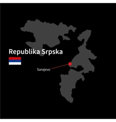 Detailed map of Republika Srpska and capital city vector image