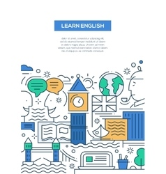 Education composition - line flat design banner vector image
