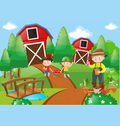 farmer and children working in the farm vector image