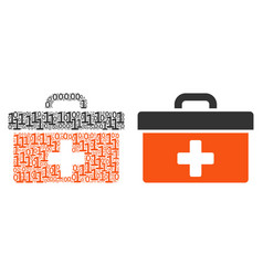 First aid toolbox mosaic of binary digits vector