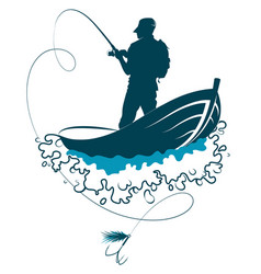 fisherman with fishing rod in a boat on waves vector image