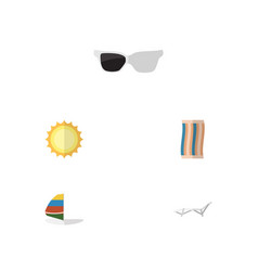 Flat icon summer set of wiper surfing spectacles vector