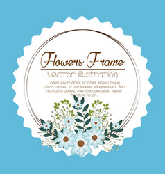 Floral frame decorative icon vector