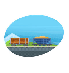 Freight wagon for transportation cargo with sand vector