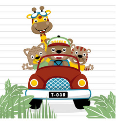 Funny animals cartoon on red truck vector