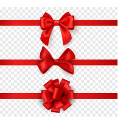 gift bows with ribbons horizontal silk red vector image