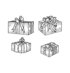 Gift box set sketch engraving vector