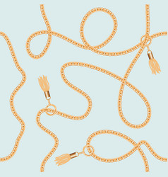 gold chains with tassels seamless pattern vector image