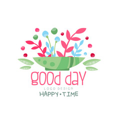 Good day happy time logo design element can be vector