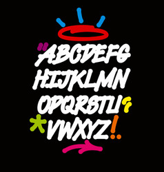graffiti font with drips and colorful decorations vector image