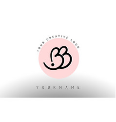 handwritten letters bb b b logo with rounded vector image
